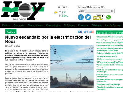 Captura 1: titular y copete de la noticia del diario Hoy.